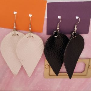 set of black & white faux leather earrings